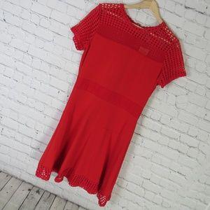 Michael Kors Dress Womens Large L Red Mesh